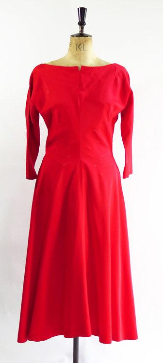 1950's Blood Red Evening Dress