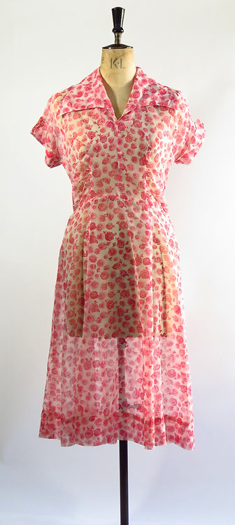 1950's Sheer Rose Dress