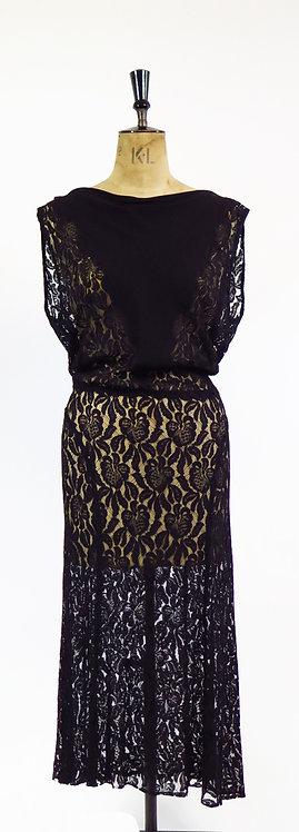 1930s Sheer Lace Low Cut Dress