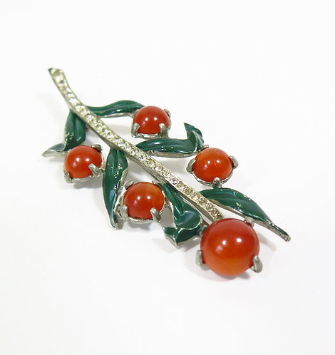 1930s Brooch With Leaves And Berries