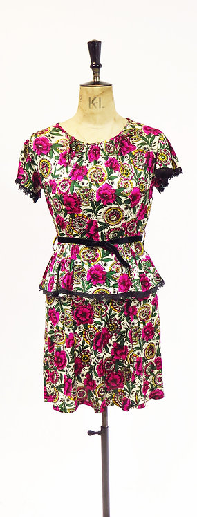 Vintage 1970s Does The 40s Floral Peplum Dress