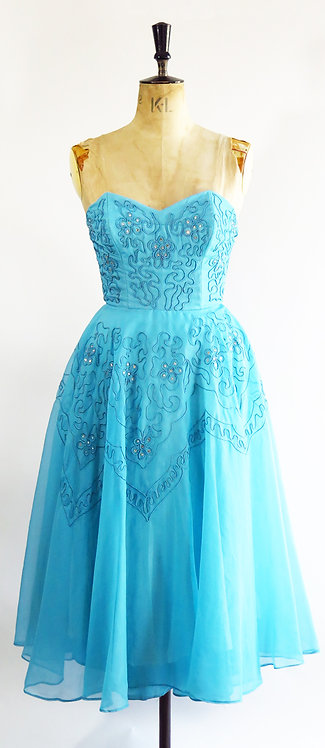 1950s Blue Embroidered Prom Dress