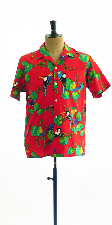 Vintage 1980-90s Parrot Print Summer Shirt