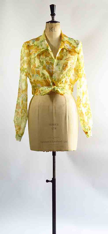 1970s Tie Front Floral Blouse