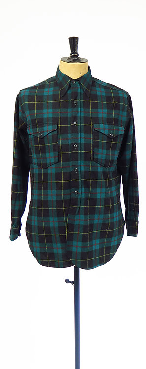 Vintage Pendleton Green And Black Checked Wool Flannel Shirt