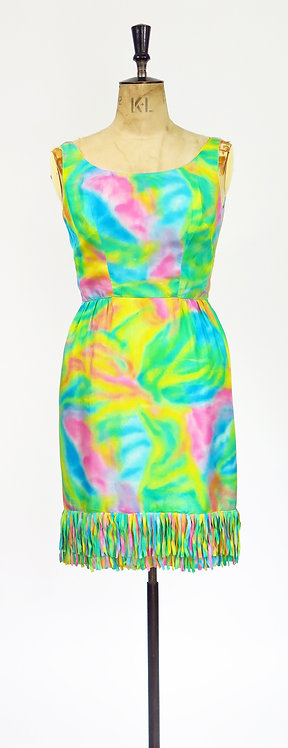 1950-60s Psychedelic Silk Dress