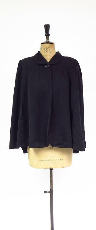 Original Vintage 1940s Black Wool Cape Jacket
