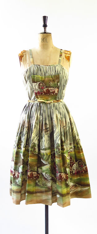1950s Millworth? Wild West Novelty Print Dress