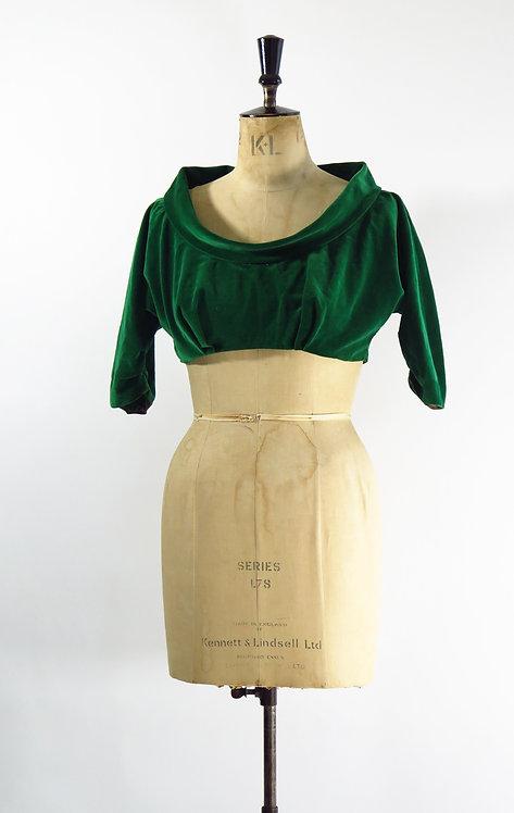 1950s Green Velvet Cropped Jacket