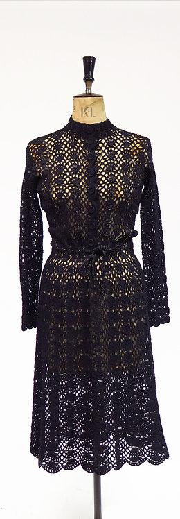 Vintage 1940s Black Crocheted Lace Evening Dress