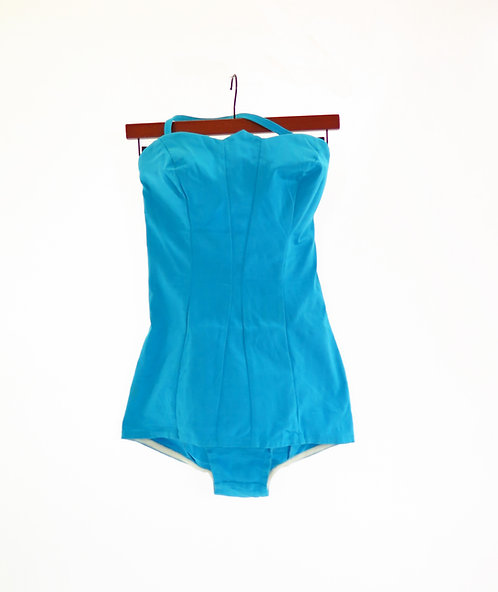 Vintage 1950s Turquoise Swimming Costume Swimsuit Beachwea
