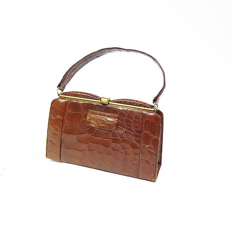 Vintage 1930-40s Sir John Bennett Brown Crocodile Leather Handbag