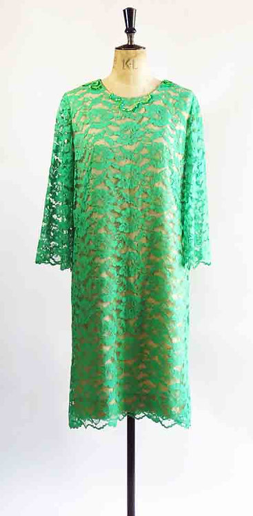 1960s Green Lace Dress