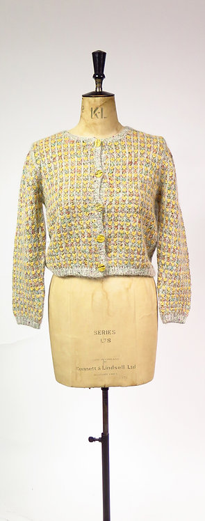 1990s Grey And Yellow Knitted Cardigan