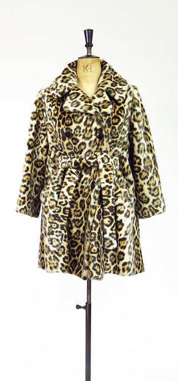 1950-60s Faux Fur Leopard Print Coat