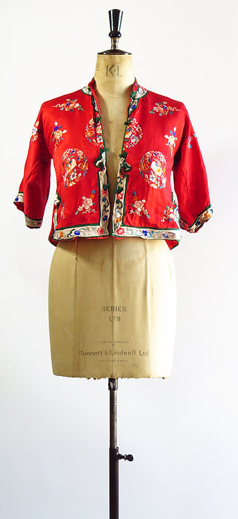 1930s Embroidered Chinese Silk Blouse