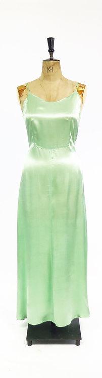 1930s Green Satin Evening Dress