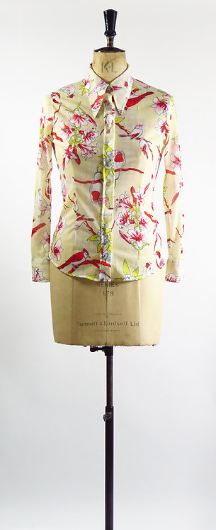 1970s Bird Patterned Blouse