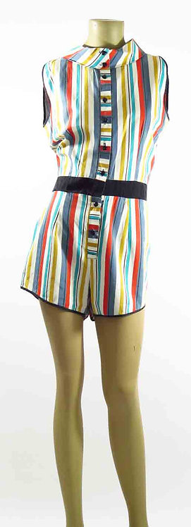 1960s Striped Playsuit
