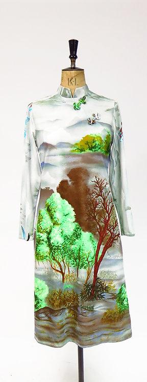1970s Wearable Art Novelty Print Dress
