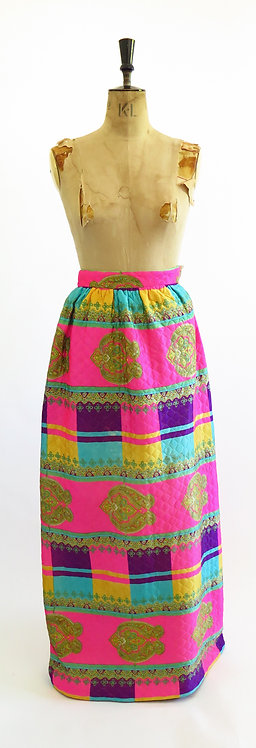 Original 1970s Quilted Maxi Skirt