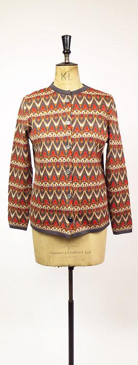 Original 1960-70's Orange And Grey Knitted Cardigan
