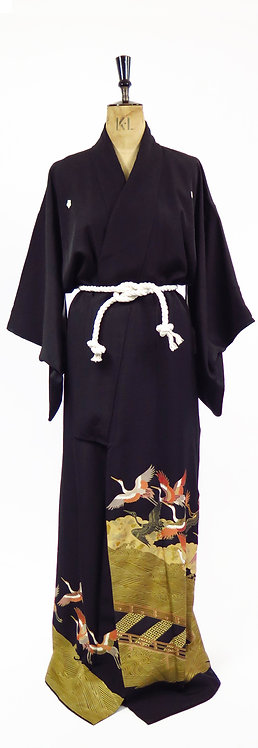 Vintage Tomesode Kimono In Midnight black Silk With Golden Flying Cranes