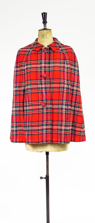 1960s Red Tartan Checked Cape