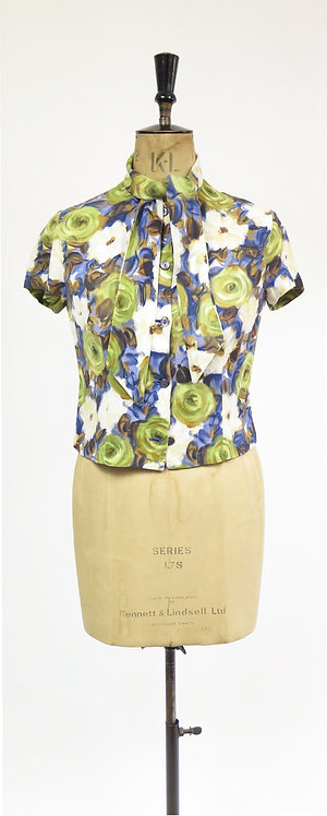 1950s Floral Short Sleeve Blouse