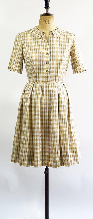 1950s Beige Checked Tea Dress