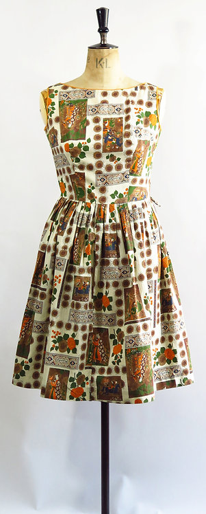 1950s Patterned Day Dress