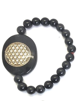 Flower Of Life Engraved Crystal Bracelet:Black Tourmaline