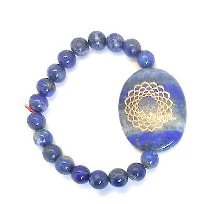 Sahasrara Symbol Engraved Crystal Bracelet: Lapis Lazuli