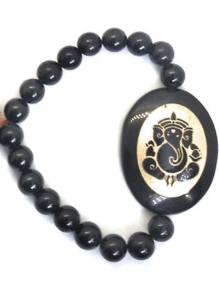 Ganesha Engraved Crystal Bracelet:Black Tourmaline