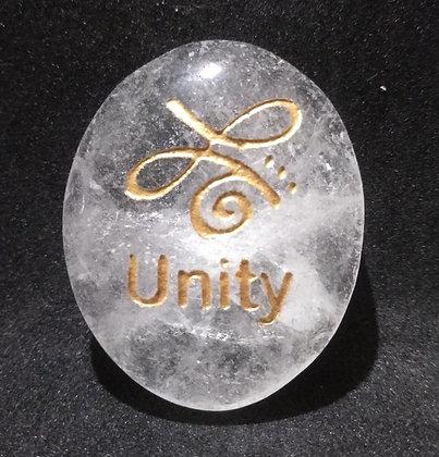 ZIBU symbol engraving on crystal pebble : Unity