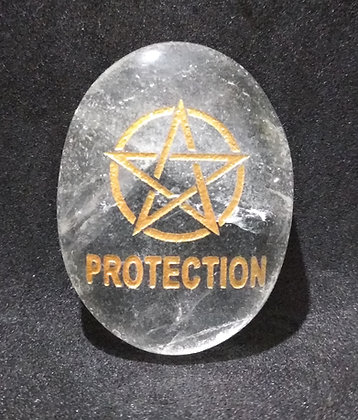 ZIBU symbol engraving on crystal pebble :For Protection