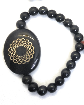 Sahasrara Symbol Engraved Crystal Bracelet: Black Tourmailne