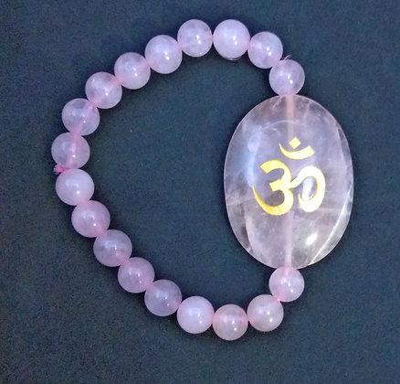 OM Symbol Engraved Crystal Bracelet:  Rose Quartz