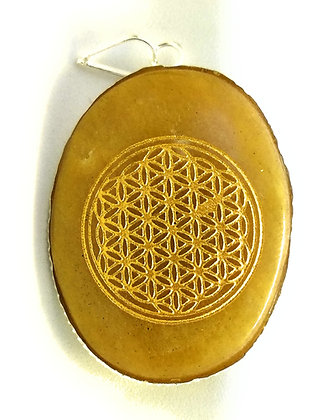 Flower of Life Pendant: Yellow Aventurine