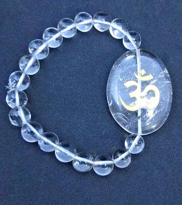 OM Symbol Engraved Crystal Bracelet: Clear Quartz