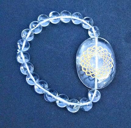 Sahasrara Symbol Engraved Crystal Bracelet: Clear Quartz