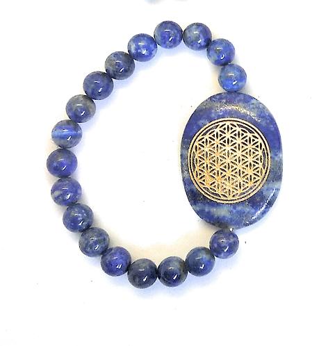 Flower Of Life Engraved Crystal Bracelet: Lapis Lazuli