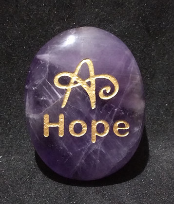 ZIBU symbol engraving on crystal pebble : Hope