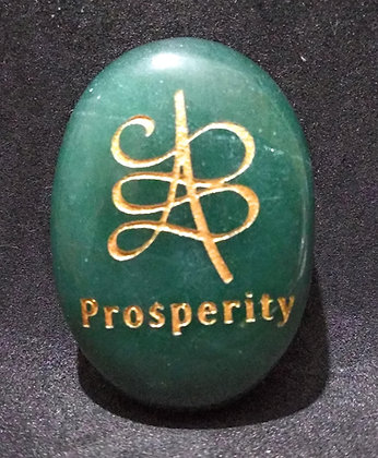 ZIBU symbol engraving on crystal pebble : For Prosperity