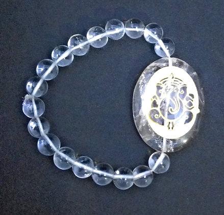 Ganesha Engraved Crystal Bracelet:Clear Quartz