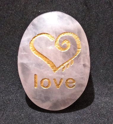 ZIBU symbol engraving on crystal pebble : Love