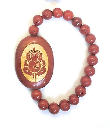Ganesha Engraved Crystal Bracelet:Red Jasper