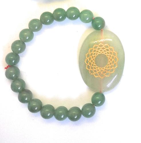 Sahasrara Symbol Engraved Crystal Bracelet: Jade