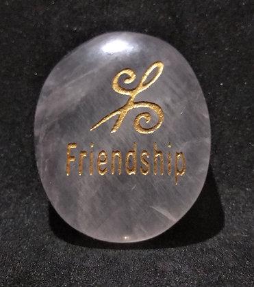 ZIBU symbol engraving on crystal pebble : Friendship