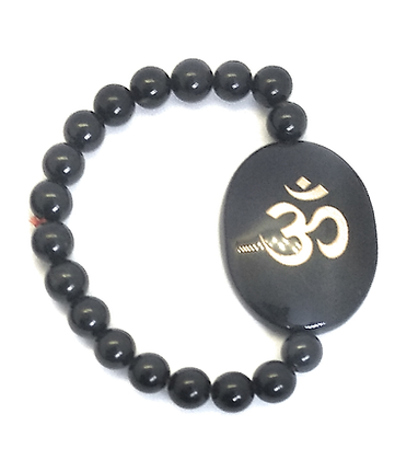 OM Symbol Engraved Crystal Bracelet: Black Tourmaline